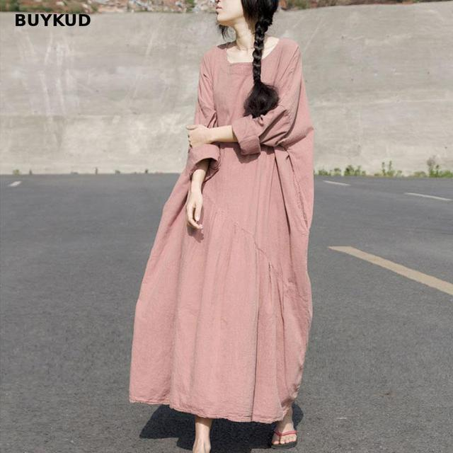 ec75e4b526b BUYKUD Casual Cotton Linen Maxi Dress Women Solid Loose Oversize Long Dress  Summer Pleated Long Sleeve Plus Size Dresses Autumn