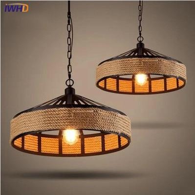 IWHD Pendant Lights Vintage Industrial Retro Hemp Rope Iron Pendant Lamps Dining Room Lamp Restaurant Bar Counter Attic Lighting