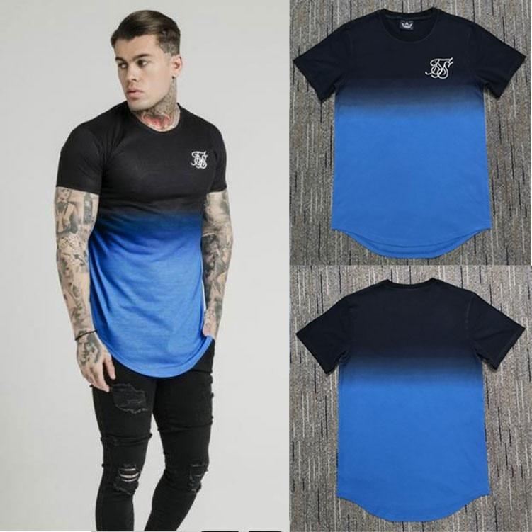 Fashion Summer Kanye West Gradient T Shirt Men Hip Hop T Shirts Irregular Curved Hem Short Sleeved Cotton SikSilk T-shirt