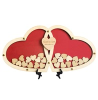 Personalized Customs Heart Wedding Guest Book Alternative Wooden Guest Book Wedding Decoration Custom Drop Top Baby