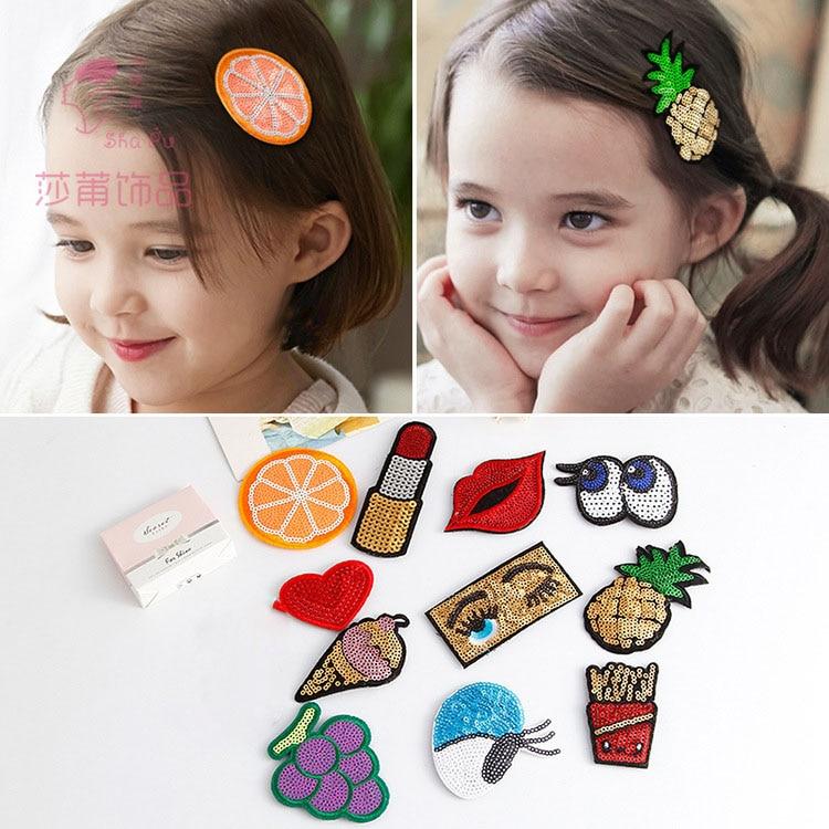 Shapu Children's cute fruit Velcro fixed hairstyle hair clips for girls baby hair accessories tiara kids headwear hairpin