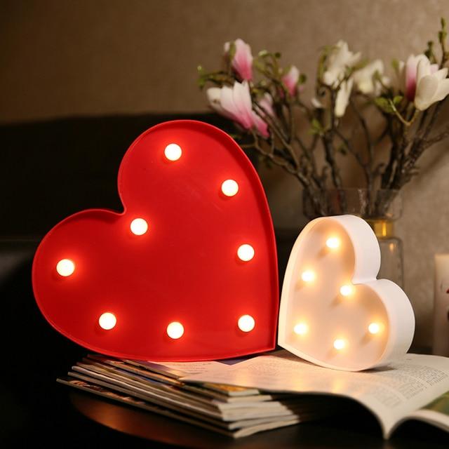 2 Sizes Heart Shape LOVE Fairy Nightlight ABS Plastic LED Table Desk Lamp  Room Atmosphere Wedding