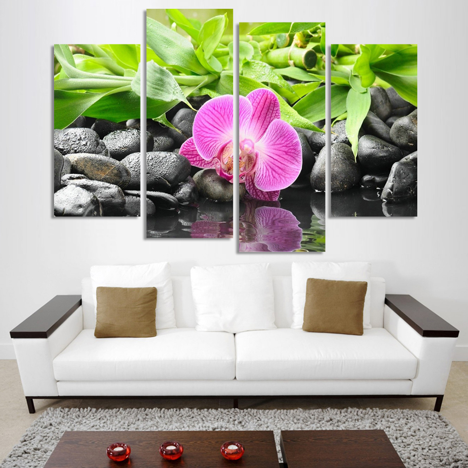 4 Panel Wall Art Botanical Green Feng Shui Orchid Oil Painting On Canvas Quartz Crystal Abstract