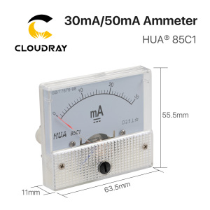 Image 2 - Cloudray 30mA 50mA Ammeter HUA 85C1 DC 0 30mA 0 50mA Analog Amp Panel Meter Current for CO2 Laser Engraving Cutting Machine