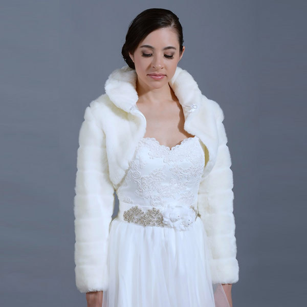 2016 Faux fur Wedding Shawl Wrap Shrug Jacket Long Sleeve Lvory Wedding Coat bridal jacket wedding shawls and wraps