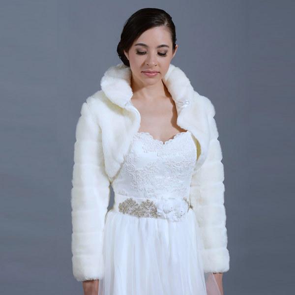 2016 da pele do falso casamento xaile envoltório bolero manga comprida marfim casamento de noiva de casamento xailes Jacket e wraps