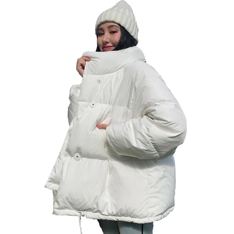 Корейский стиль 2019, зимняя женская куртка со стоячим воротником, однотонная, черная, белая, женский пуховик, свободный, негабаритный, женская короткая парка