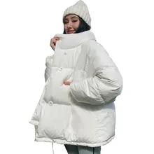 한국어 스타일 2019 겨울 자켓 여성 스탠드 칼라 단색 검정 흰색 여성 다운 코트 느슨한 대형 여성 짧은 파카