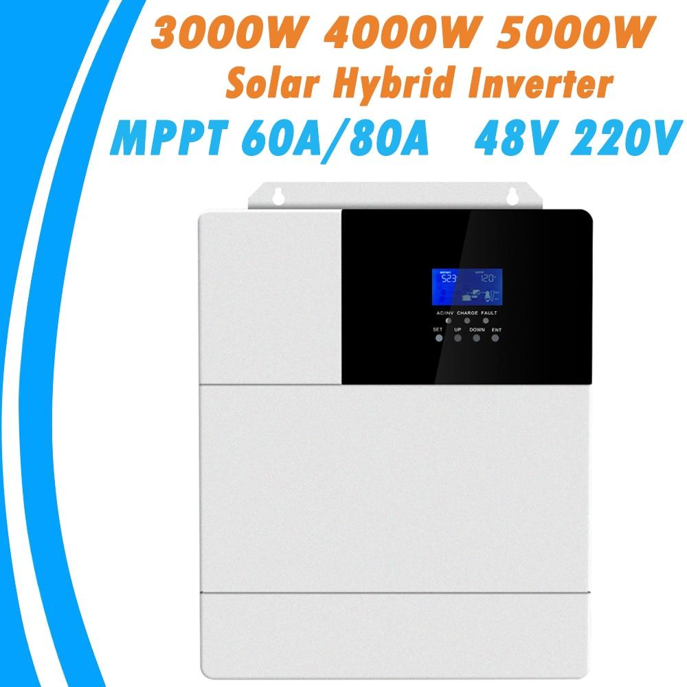 3000 W 4000 W 5000 W tout en un onduleur hybride solaire MPPT 60A 80A pur onduleur à onde sinusoïdale 48 V 220 V 50Hz 60Hz réglage automatique des priorités