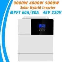 3000W 4000W 5000W All In One Solar Hybrid Inverter MPPT 60A 80A Pure Sine Wave Inverter 48V 220V 50Hz 60Hz Auto Priority Setting