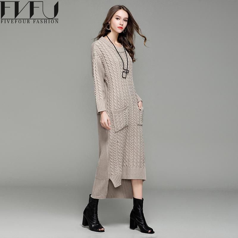 Fashion 2017 Winter Autumn Dress Women Elegant Solid High Low Long Sleeve Dresses Loose Casual Knitted Long Sweater Dress 2017 autumn winter fashion loose casual pattern design bow short thicken cotton long sleeve women parkas jacket