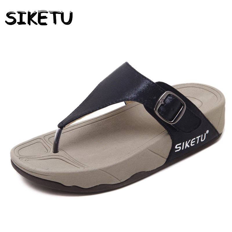 SIKETU 2017 Summer New Women flip flops Shoes Roman Style Fashion Buckle Sandals Clip Toe Slope Thick Heels Shoes Woman 2016 summer new fish head roman sandals women 14cm heels thick with thin waterproof shoes