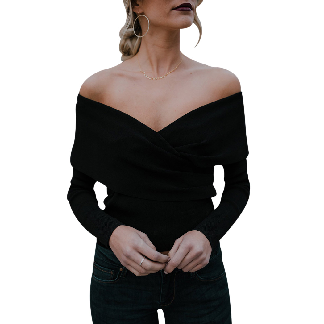 Women Cross V Knitted Sweater Sexy Off Shoulder Long Sleeve Slim Pullovers Casual Ladies Elastic Solid Slash Neck Sweaters Tops