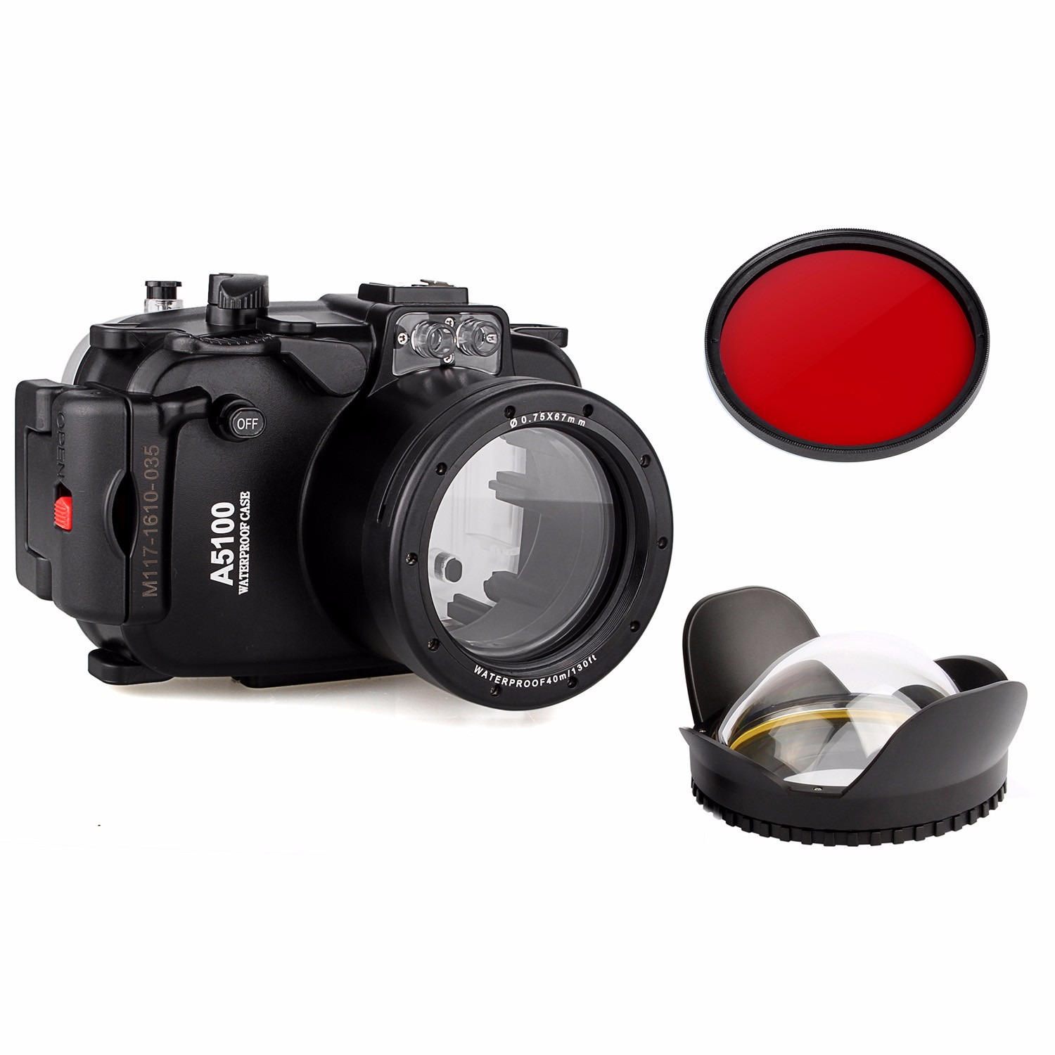 40m 130ft Waterproof Underwater Camera Housing Case Bag for Sony A5100 16-50mm Lens Camera + 67mm Fisheye Lens + 67mm Red Filter waterproof underwater housing camera bag case for sony a6000 16 50mm lens