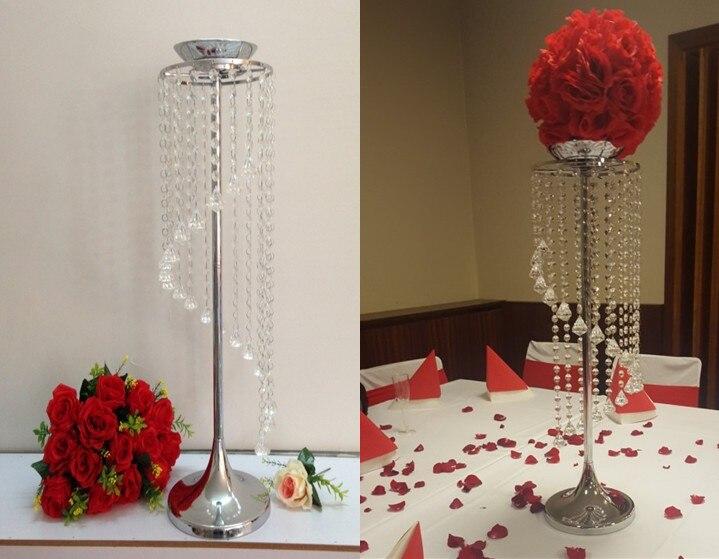 Gros vase à fleurs en cristal fleur en métal support pour table de mariage décor fête table couronne support bougeoir cristal support