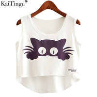 KaiTingu 2017 New Summer Fashion Women Crop Top Sleeveless Cat Anchor Print Casual Top Women Short