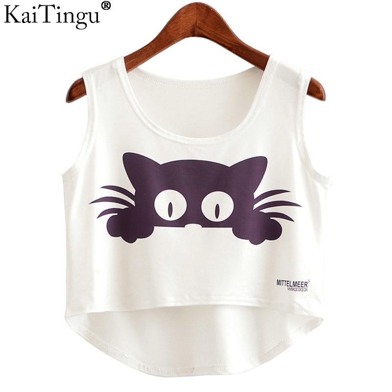 KaiTingu 2017 New Summer Fashion Women Crop Top Sleeveless Cat Anchor Print Casual Top Women Short