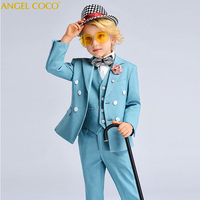 6Pcs Set 2019 Spring New Boys Clothing School Boys Waistcoat Uniform Shirt Boys Suits For Weddings Costume Garcon Terno Menino