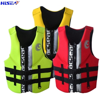 Hisea High quality professional neoprene adult life jackets thick water floating surfing snorkeling fishing racing vest Portable