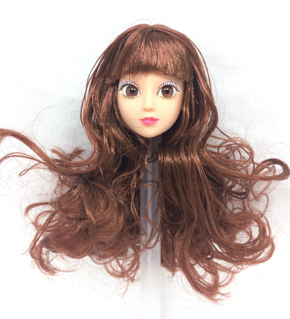 NK One Pcs Fashion Doll Head Brown Hair Realistic Eyes DIY Accessories For Barbie Kurhn Doll Best Girl' Gift Child DIY Toys 024U high quality doll head brown curly hair long eyelashes with fashion earrings diy gift accessories for 1 6 12 doll kids toy gift