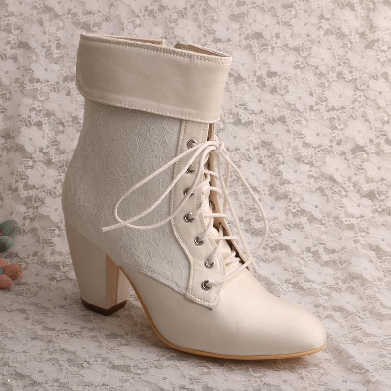 ФОТО Wedopus Marfil Winter Boots Women Short High Chunky Heels Lace Wedding Shoes Boots