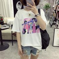 2018 Koreaanse cartoon letters Sailor Moon meisjes gedrukt t-shirt losse vrouwen tops