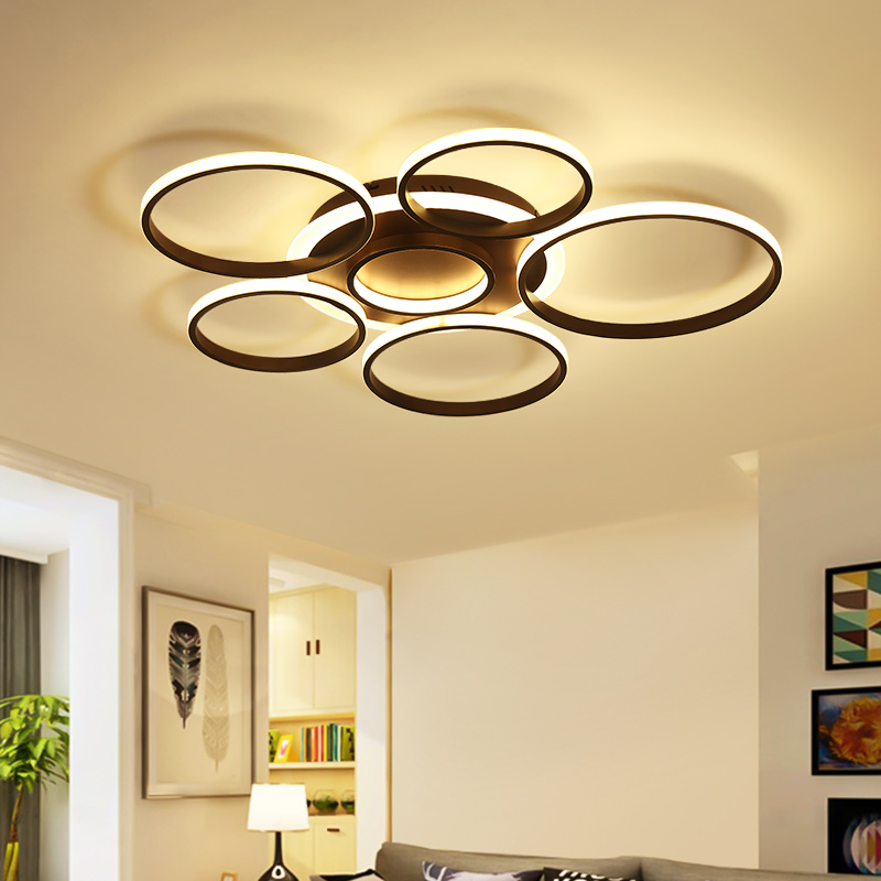 Modern creativity white brown circle led chandeliers ceiling for living room bedroom lampara de techo chandelier