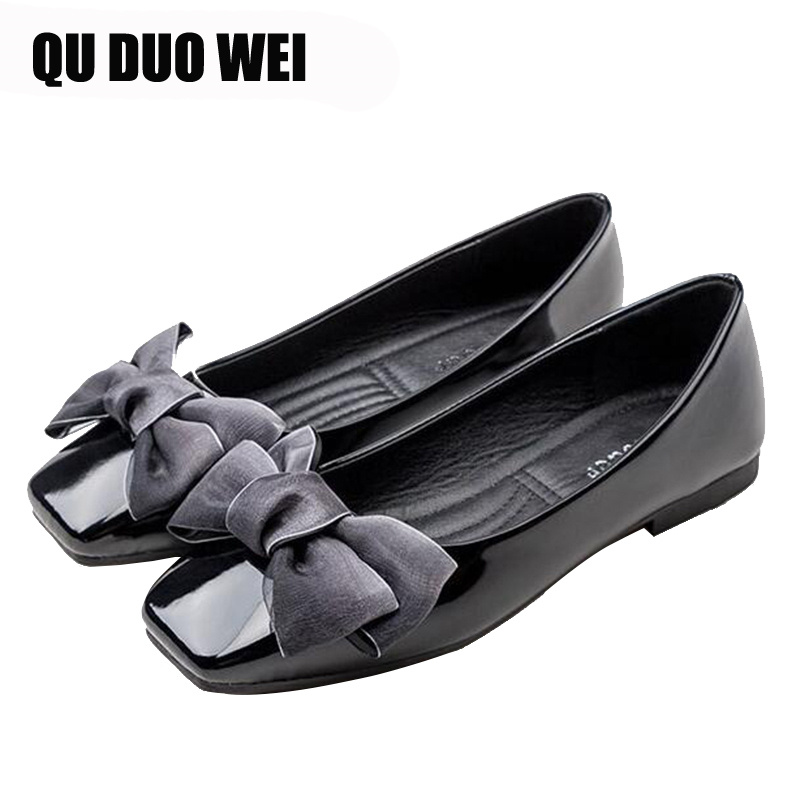 2019 New Patent Leather Women Flats With Sweet Bowknot Decoration Women Causal Fashion Oxfords Elegant Mujer Work Shoes Women