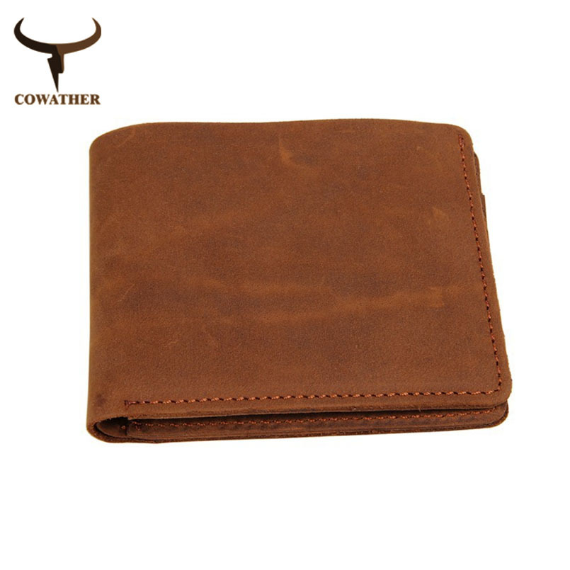 COWATHER top cow crazy horse genuine luxury leather men wallets for men male purse vintage carteira masculina free shipping cowather 2017 top layer crazy horse leather male purse cow vintage wallets simple luxury men carteira masculina free shipping