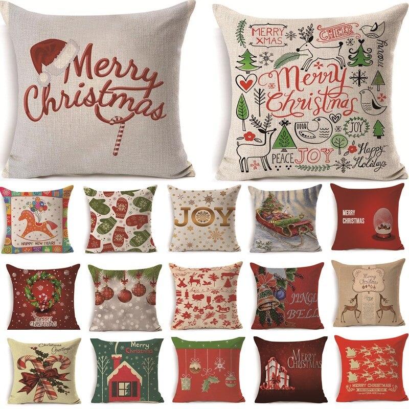 1 Pcs 43*43 Cm Kerst Herten Geschenken Patroon Katoen Linnen Sierkussen Kussenhoes Auto Thuis Sofa Decoratieve Kussensloop 40484 Elegant En Sierlijk