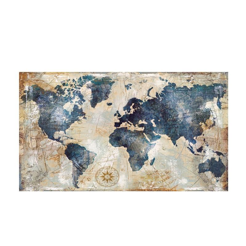 80x140 cm Vintage aquarelle carte du monde peinture toile peinture affiches et impressions mur Art photo pour salon Cuadros décor