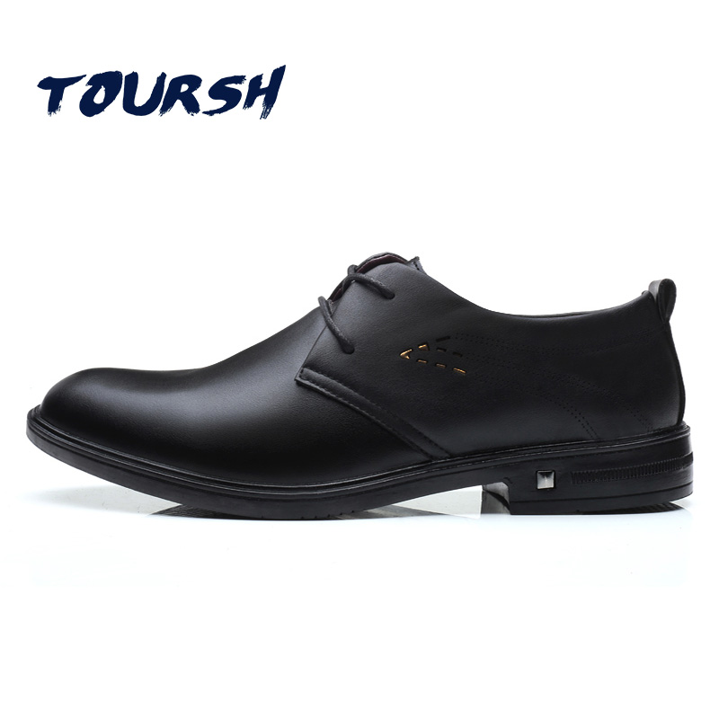 TOURSH 2018 Luxury Men Business Formal Dress Shoes Black/Brown Oxford Men Leather Shoes Lace-Up Pointed Toe British Style Men plus size 37 44 men leather dress shoes pointed toe business formal men office shoes lace up black brown oxford shoes yj b0018