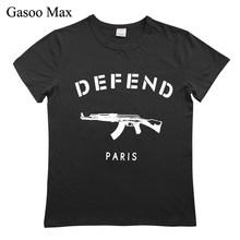 Defend Paris AK47 Tshirt Women Letter T-shirts Printing Funny Tee Shirt For Female Top Clothes Short Sleeve Tees Cotton O-Neck(China)
