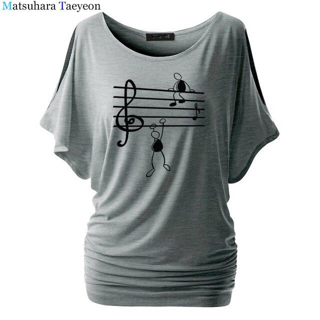 Music Notes Funny Printed T Shirt Women Summer Animal Short Sleeve Tshirts Harajuku T-Shirt Girl Casual Tops t shirt Brand 2
