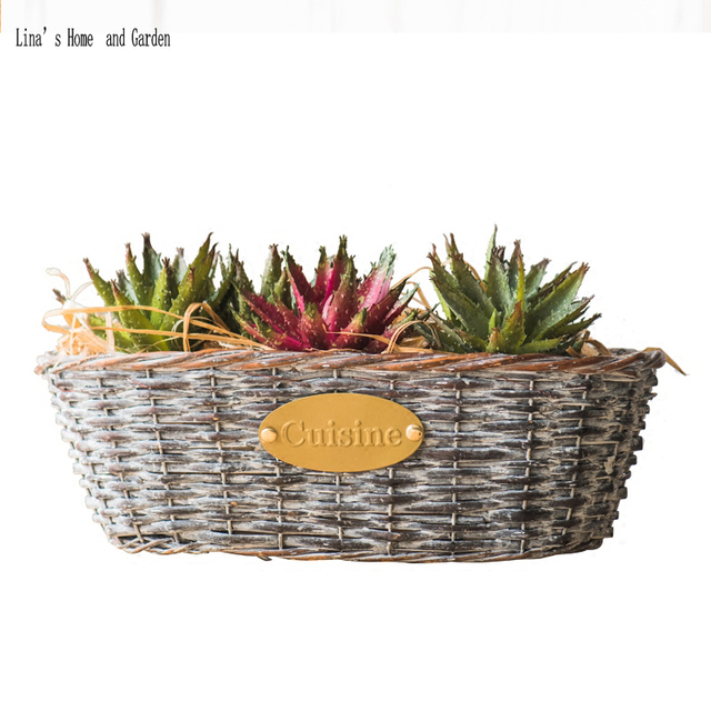 Vintage Farmhouse Decor Hand Made Wicker Wall Baskets For Flowers