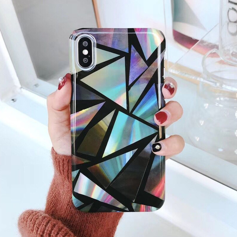 Plating Colorful Marble Stone Gel Case For iPhone X Colorful Hard Plastic Granite Cover Back For iPhone X Capa Coque