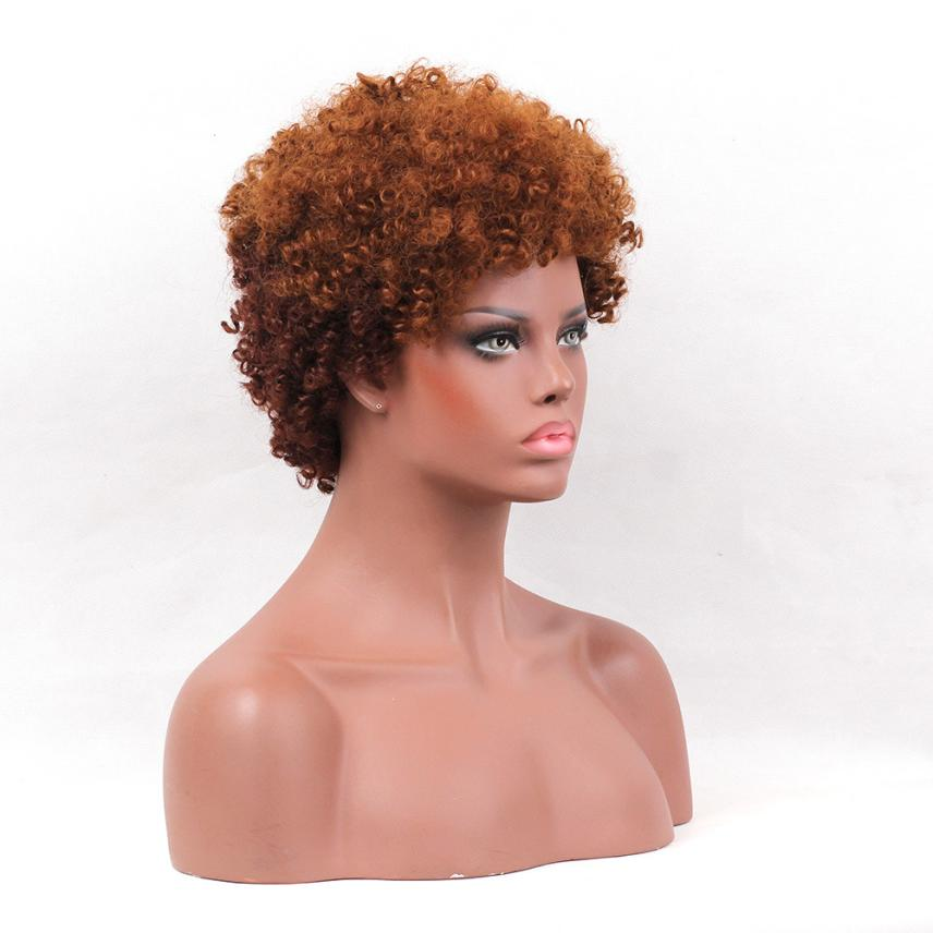 Womens Fashion Short Black Front Curly Hairstyle Synthetic Hair Wigs 0704