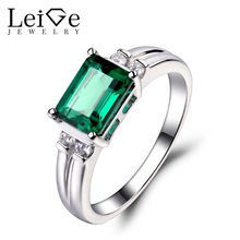 Leige Jewelry Emerald Ring Sterling Sliver 925 Fine Jewelry Engagement Wedding Rings For Woman Emerald Cut May Birthstone