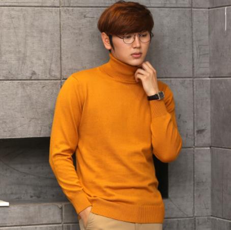 Кашемировая водолазка мужская, мужской свитер, одежда для осени и зимы, свитера цвета Омбре, пуловер для мужчин с высоким воротником - Цвет: Оранжевый
