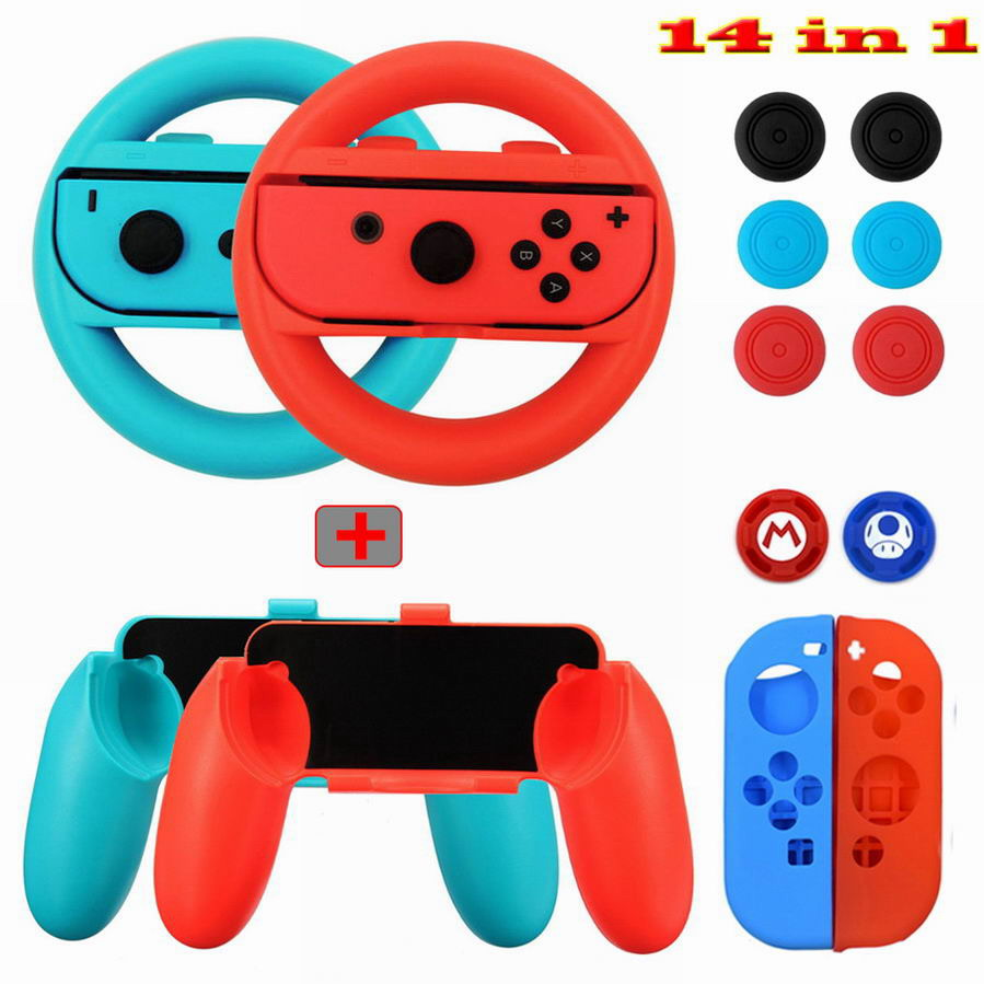 Hot  14 In 1 Nintend Switch Accessories Kit With Steer Wheel Handle Grips Silicone Case Analog Caps For Nintendo Switch Joy-con