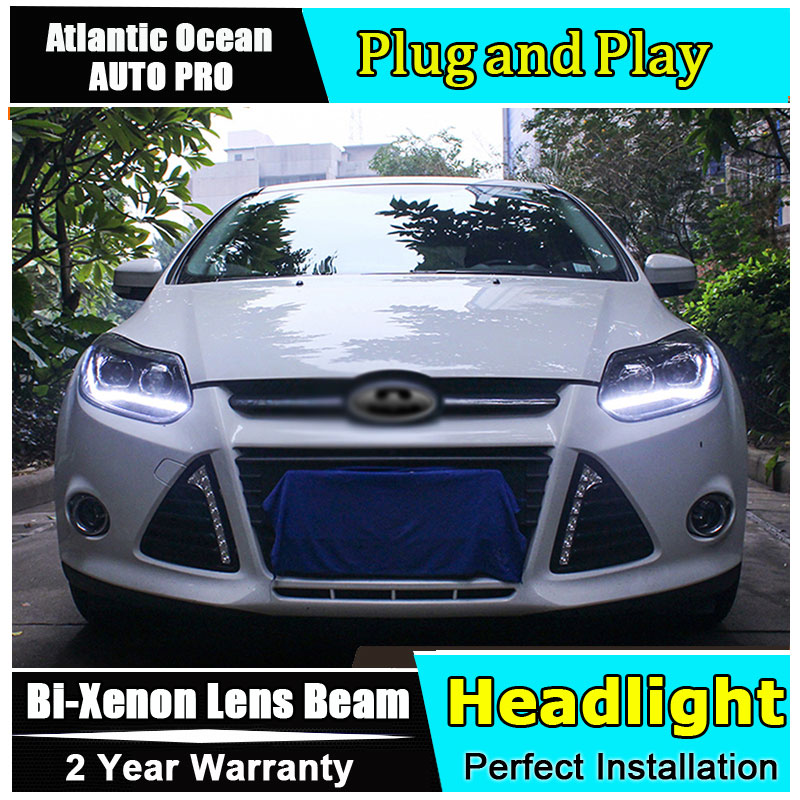 Auto.Pro Car Styling for PW Ford Focus Headlights New Focus LED Headlight DRL Lens Double Beam HID KIT Xenon bi xenon lens ownsun new style tear drop led projector lens headlight for new ford focus 2012 2013