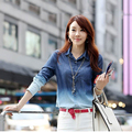 2016 New Fashion Spring Summer Women Camisa Blouse Jeans Full Sleeve Gradient Slim Turn-down Collar Denim Shirt