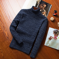 Turtleneck sweater warm winter sweater thickened male youth slim KNIT JACQUARD men shirt