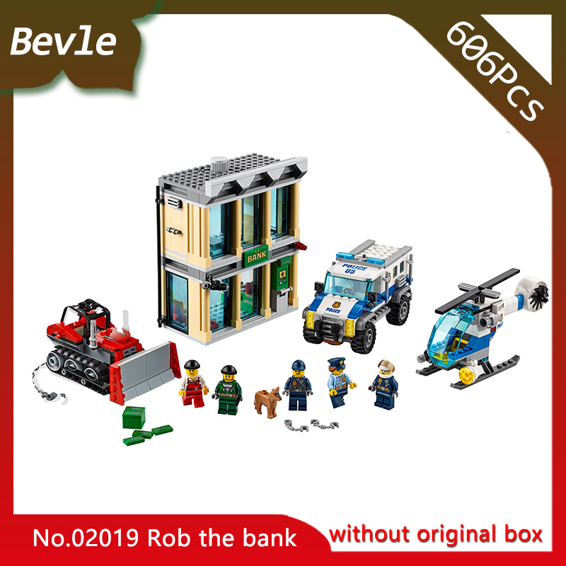 Bevle Store LEPIN 02019 606Pcs CITY Series The bulldozer robbed the bank Building Blocks set Bricks Children For Toys Gift 60140 hot sembo block compatible lepin architecture city building blocks led light bricks apple flagship store toys for children gift