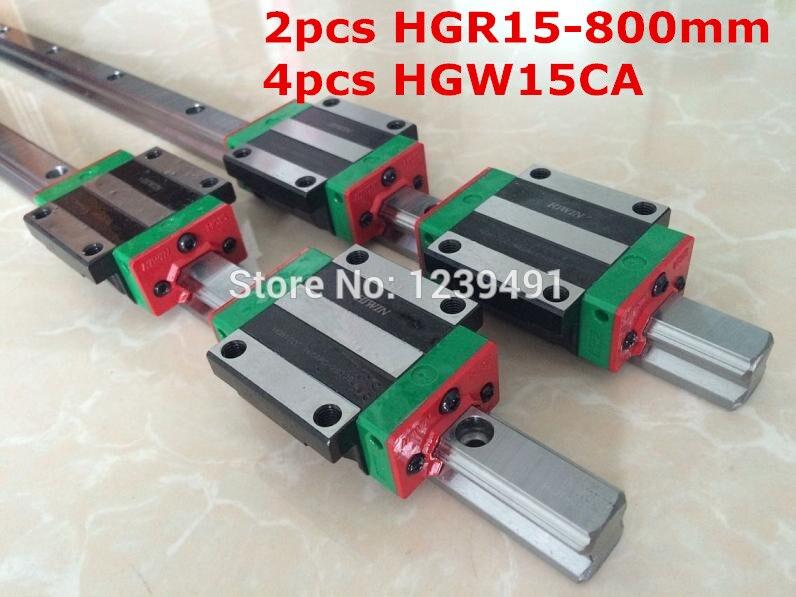 2pcs original hiwin linear rail HGR15- 800mm  with 4pcs HGW15CA flange block cnc parts 2pcs original hiwin linear rail hgr15 900mm with 4pcs hgw15ca flange block cnc parts