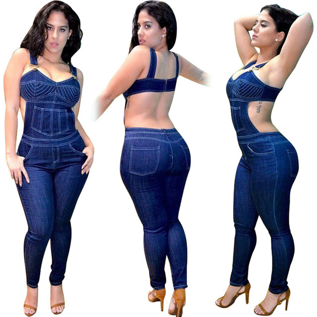c5da911f02d Wonder Beauty Jumpsuit Jeans for Women European Style Macacao Feminino  Backless Bodysuit Overalls Rompers Sexy Denim Jumpsuit