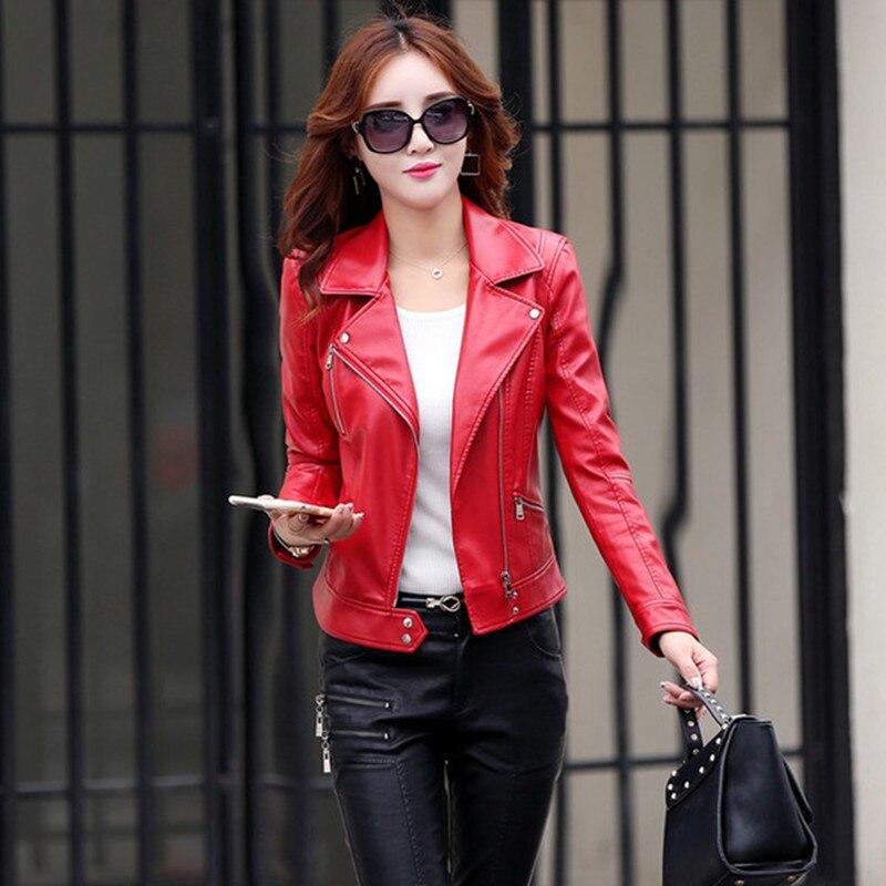 Tops Printemps Gris Femme Et Femmes 5xl 1 Nouveau 2 Automne 3 Rouge Court Pu Manteau Rayé Cuir Veste Plus En Moto Taille pqxdS