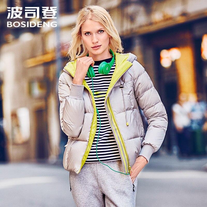 BOSIDENG new winter women short   down   jacket hoodie   down     coat   windbreaker parka fluorescence color zipper high quality B1601186