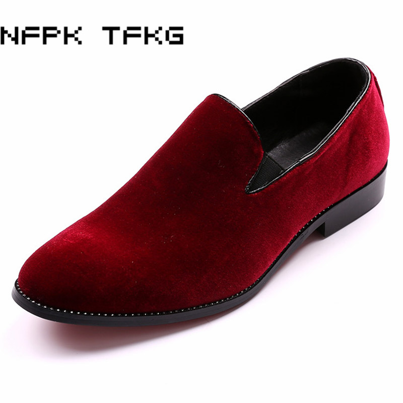 new fashion men wedding party dress velvet cow suede leather shoes gentleman breathable slip on driving shoe pointed toe loafers