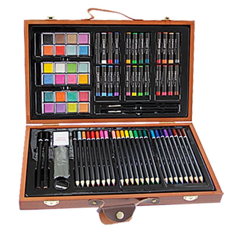 ФОТО 84pcs Children Painting Set Drawing Brush Elementary Water Color Pen Art Markers Wood Box Set
